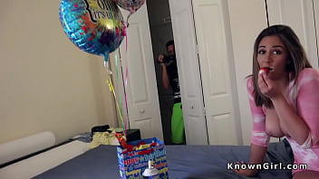 Busty Girlfriend Gangbanged For Her Bday