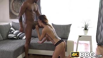 Skinny chick fucked senseless in big cock interracial
