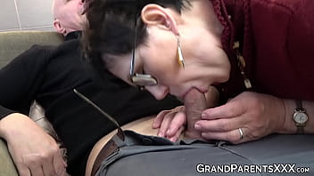 Old and young couple fucking big cock grandpa for cumshot