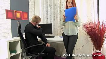 Sucking a hard cock Secretary sucks the boss cock for some cum