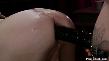 Huge tits femdom waxing and pegging man