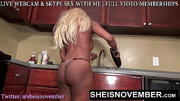 Porn tube sester Msnovember get butt ass naked in hot kitchen spreading her blackass and shaking blackboobs to cool off.