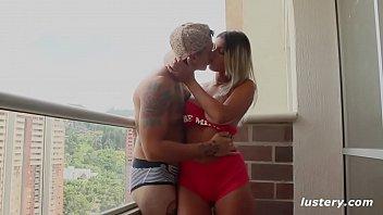 Homemade balkon blowjob - Authentic amateur couple fucking on balcony