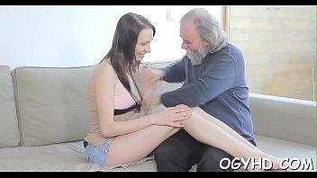 Juvenile chick teased by old crock