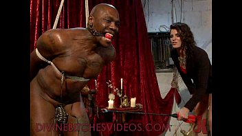 Black bound mucle guy fucked by mistress with huge strapon cock