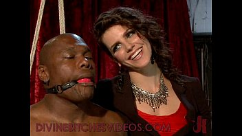 Black bound mucle guy fucked by mistress with huge strapon cock Image