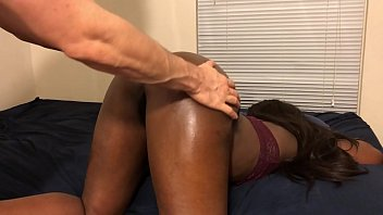 Black Teen Gets Ass Oiled Up By White Step Brother