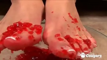 Mackenzee Pierce Gets Her Feet All Messy With Jello Before Giving An Amazing Footjob