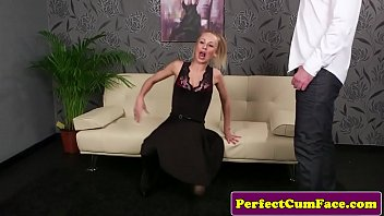 Inked British amateur facialized pov after bj sloppy ponytail british