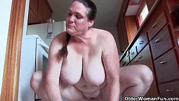 Skinny cleaning lady fuck Granny with big tits cleaning the kitchen naked