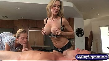 Big titted stepmom nasty threeway action on massage table