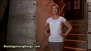 Chained babe gangbang fucked by her husband and his friends in basement thumbnail