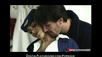 Big tit brunette French Flight Attendant Fucks husbands hard Liza del sierra
