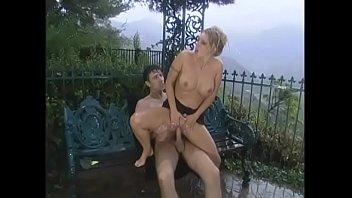 Curvy nympho in little black dress Brittney Skye gets her legs spread in backyard then fucks