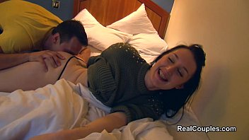 Fun real couple are filmed at the hotel