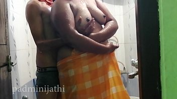 Desi couple fucking with shower in the frist night mood