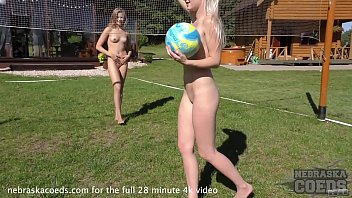 Playing naked sports Naked volleyball then samanta going down on candice plus dildo fucking
