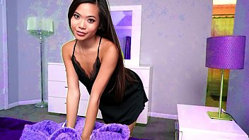Cute asian stepsis shares the bed with her horny step brother