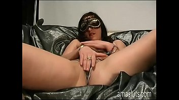 A nice woman in mask has solo sex thumbnail