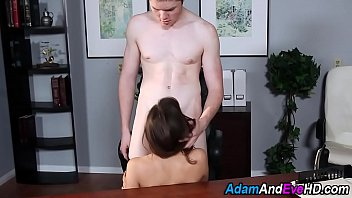 Babe sucks cock in office