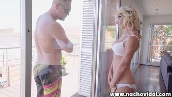 Milfs mature admirers - Marina admires nacho vidals huge cock through the glass balcony door, stroking her pussy. she cant resist kneeling and swallowing the giant spanish penis.