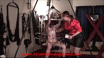 Chastity suck Sex and metal cage - ride the lightning - chastity cbt cattle prod electricity