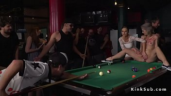 Hot blonde humiliated in public pool bar