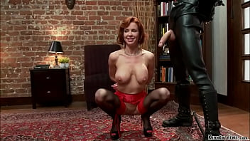 Busty redhead MILF whipped and fucked