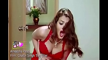 Amisha Patel Showing Boobs in Red Bra