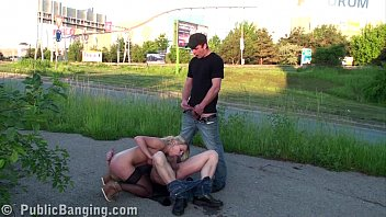 Daring PUBLIC sex threesome with a pretty blonde girl preview image