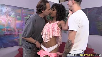 Stroking cocks and cumming Misty stone works on two white cocks