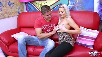 Blonde sexbomb with perfect tits rock the cock on the sofa