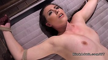 Busty brunette in ropes anal fucked