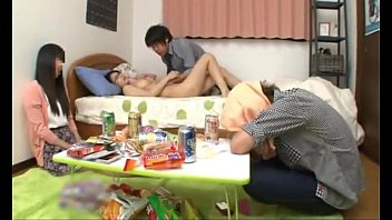 Japanese schoolgirl with perfect tits fucking a friend while her boyfriend sleep