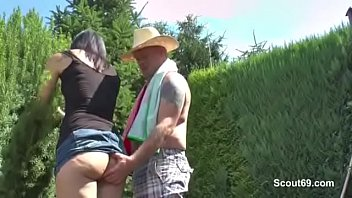 German Gardener Men Fuck Sexy Milf Outdoor in Garden