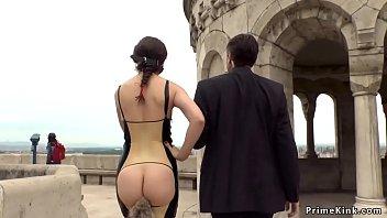 Bare ass Euro beauty disgraced in public