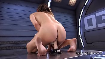 Big ass brunette fucks machine and toys