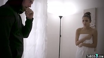 Skinny busty babe fucked roughly by a perv intruder