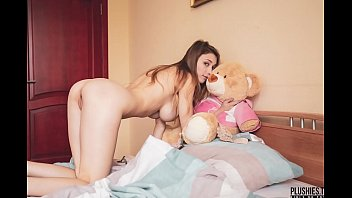 Mila Azul best nude erotic girl model with teddy bear Gosha for Plushies TV