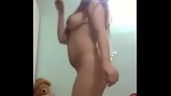 old husband away she does private naked show to BF on skype