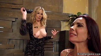 Blonde anal fucks waitress in bondage