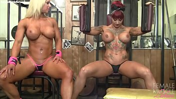 Naked bodybuilder girls - Naked female bodybuilder muscle lesbians in the gym