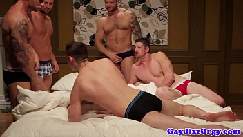 Gay jizz eater Cumshot loving muscle jock in group gets anal