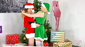 Stella Cox and Angel Wicky in Merry Breastmas lesbian scene by SapphiX