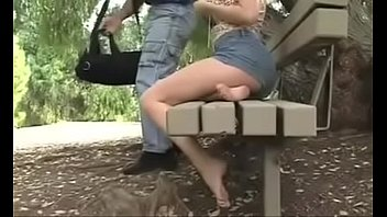 cute girl stroking bbc in the park