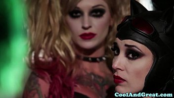 Fantasy costumes and lingerie Catwoman pussyfucked in trio by joker