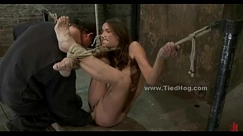 Tied sex slave is forced to suck cock in rough deepthroat sex