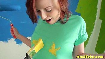 Anal loving redhead teen fucked pov