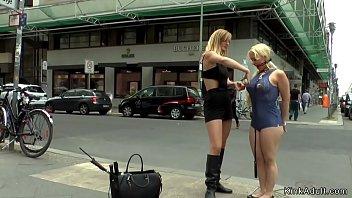 Busty blonde dp fucked in public bar
