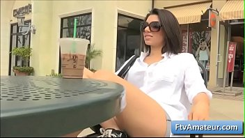 Sexy brunette amateur babe Darcie flash her natural boobs outside and in public